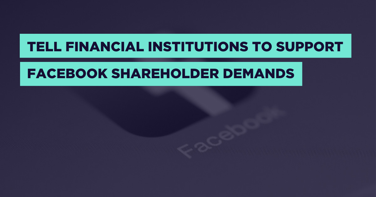 Investment firms need to vote FOR the shareholder resolutions that will make Facebook more accountable.