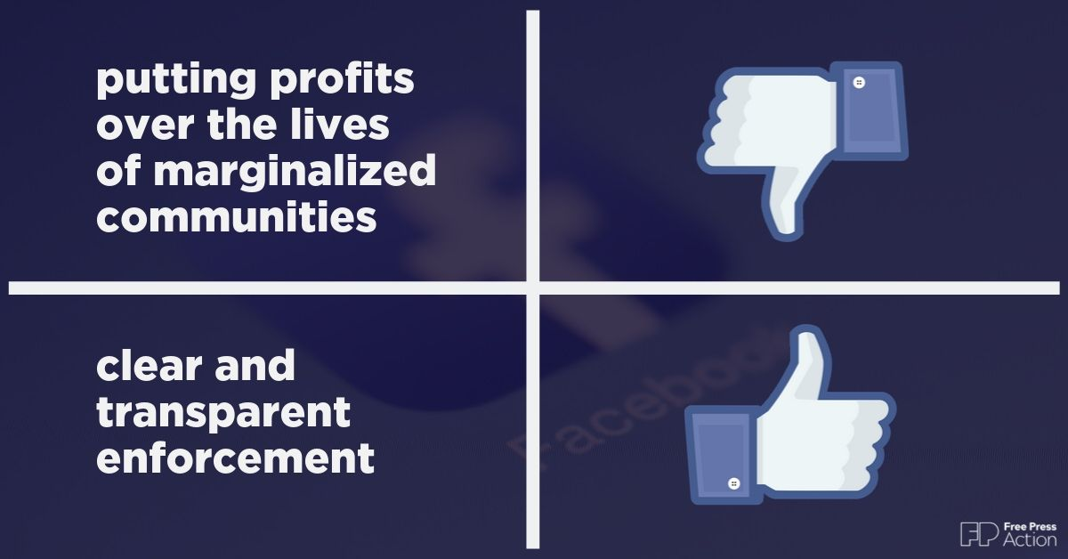Tell Facebook to stop putting profits over the lives of people of color, women, LGBTQIA+ people, religious minorities and other marginalized communities.